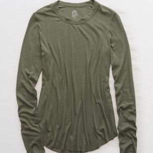 Aerie distressed real soft long sleeve